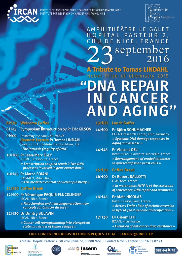 Symposium DNA repair Tomas Lindahl Sept 23 2016 OK